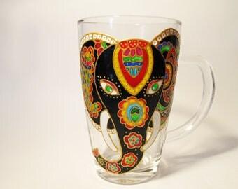 Indian Elephant Mug Bohemian Gift Elephant Mug Coffee Mug Hand Painted Cup Personalized Mug Gift for her Glass Coffee Mug Tea Mug