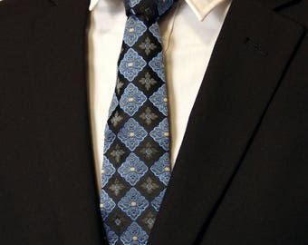 Silk Necktie, Silk Tie, Mens Necktie, Mens Tie, Blue Necktie, Blue Tie, Black, Wedding, Fathers Day, Birthday, Gift, Christmas, Dad, Diamond