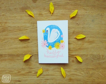 A6 Hello beautiful Swan Greeting Card