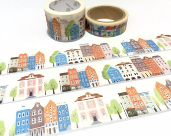 retro building washi tape 5Mx 3cm europe vintage architecture building small town old town fairytale city scenes landscape wide tape sticker