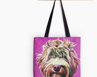 Pink Labradoodle Tote Bag | pink doodle shopping bag | pink doodle handbag | pink doodle shoulder bag | pink doodle bag