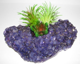 Crystal Planter for Faux Succulent, Quartz Planter, Modern Arrangement, Desk Accessory, Quartz Crystal Planter, Unique Succulent Gift