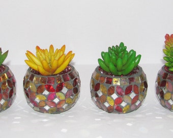 Faux Succulents in Mosaic Bowl, Succulent Planter, Desk Accessory, Artificial Succulent Arrangement, Succulent Gift