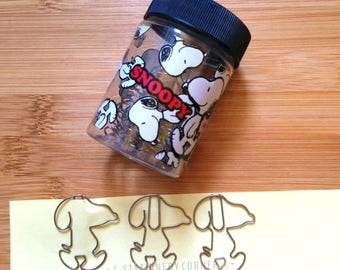 Snoopy Metal Paper Clips Set w/ Original Container // Peanuts Stationery Paperclips Binder TN Dog Puppy Animal Comic Zakka Kawaii Clip /