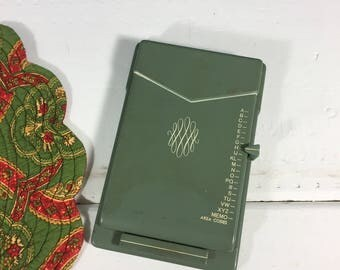 Vintage Green Address Book Phone Numbers, Retro Office Supplies, Olive  Green Metal, Office