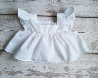 White Baby Pinafore, Vintage style baby dress, Baby pinny, Ruffle baby pinafore, Girls pinafore, Short pinafore, Baby apron, Baby girl gift