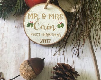 first christmas ornament married Personalized Mr  Mrs
