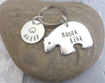 Momma Bear Keyring, Mummy Bear Keychain, Bear Cub Keyring, Mamma Bear, Mum Keyring, Childrens Name, Gift For Mum, Ladies Present, For Her