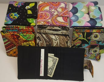 Small Fabric Card Wallet, Magnetic Snap Closure