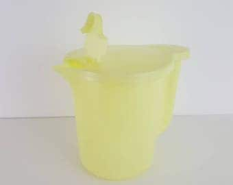 Vintage 1950s Pastel Yellow Tupperware Pitcher - Tupperware Jug - Store and Pour - Lidded Jug