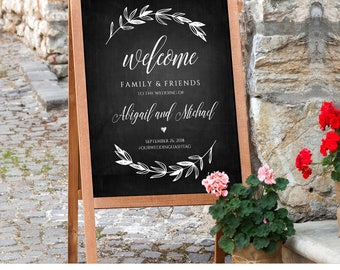 Wedding Welcome Sign Printable, Chalkboard Wedding Poster, Rustic Laurels, Fully Editable Template, Instant Download, 18x24  #023-101LS