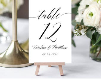 Table Number Card Template, Printable Wedding Table Number, DIY Seating Card Template, 100% Editable, Modern Calligraphy, Digital #034-105TC