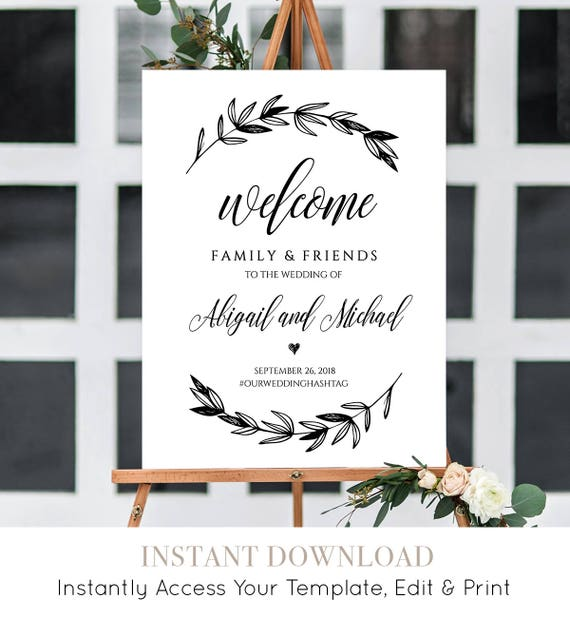 Wedding Welcome Sign Template, Printable Poster, 100% Editable, Instant Download, Rustic Laurels, Calligraphy, DIY, 18x24 & 24x36 #023-106LS