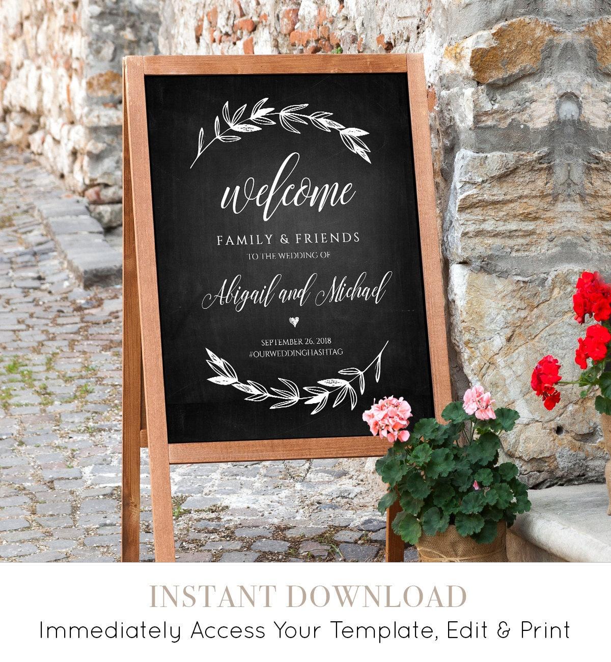 wedding welcome sign template chalkboard wedding poster printable rustic laurels 100. Black Bedroom Furniture Sets. Home Design Ideas