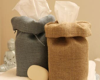 Burlap Tissue Box Cover
