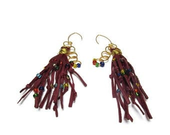 Genuine scarlet leather earrings / The best friends earrings / Bohemian earrings / Rustic earrings / Tribal earrings / Best gift for her /