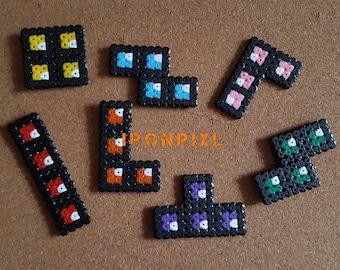 Classic game Tetris video blocks multicolor Nintendo [Pixel Art.