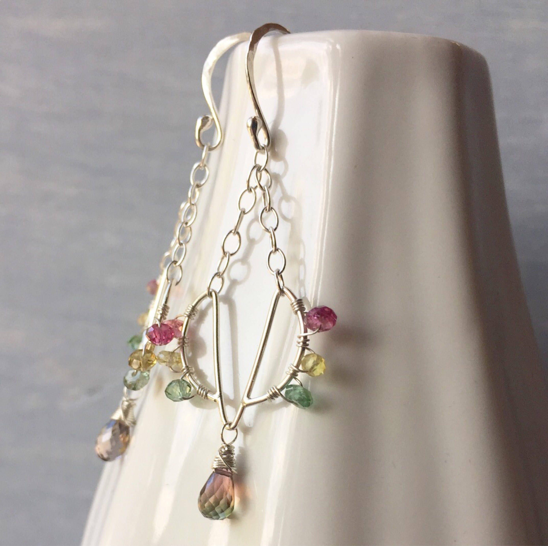 Lotus collection watermelon tourmaline chandelier earrings with lotus collection watermelon tourmaline chandelier earrings with aaa bicolor tourmaline teardrops elegant petite dainty gem earrings arubaitofo Image collections