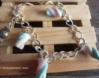 Marshmallow charm Gourmet candy polymer clay silver metal chain bracelet