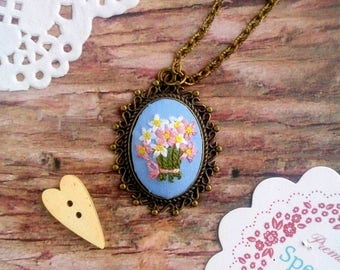 2 years anniversary gift wife christmas gift cotton flower daisy necklace personalized gift for wife embroidered crocus necklace embroidery jewelry blue pendant easter gift negle Images