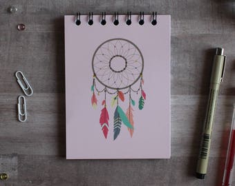 NOTEPAD. A6 Cute Pink Dreamcatcher Spiral Notepad. Soft 300 gsm Card Cover. 120 blank pages. Matte lamination pleasant to the touch.