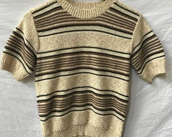 90s cropped striped knit sweater