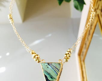 Triangle Mother of Pearl and Pyrite Chain Necklace