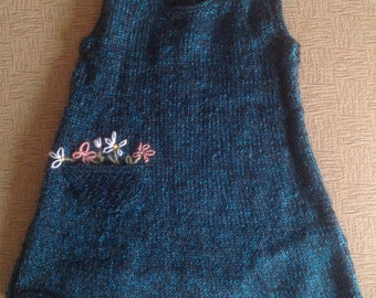 Hand Knitted Baby Pinafore - 1 to 2 years - teal/dark blue