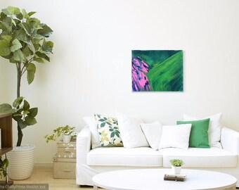 Striking Calming Liquid Art - Modern Abstract Original Painting - Green, Blue, Pink
