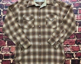 Vintage Flannel Shirt 90s Grunge Lumberjack Pendleton Western Mens Size Large Shadow Plaid Beige Long Sleeve Shirt Cowboy Rodeo Shirt 70s