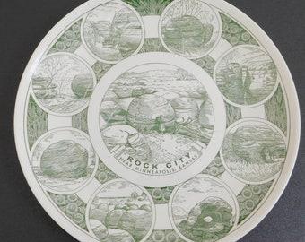 Vintage Rock City, Minneapolis, Kansas, Souvenir Plate, Green Transferware, Kettlesprings Kilns, Sandstone Concretions, Natural Landmark