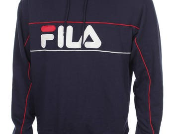 Vintage Death Stock FILA Hooded Sweatshirt Big Logo Spell Out Navy Blue /White/Red  SIZE L