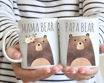 Mama Bear Mug, Papa Bear Mug, Couples Mug Set, Bear Mugs, Maternity gift, Pregnancy gift, Pregnancy announcement mug, Mama bear gift