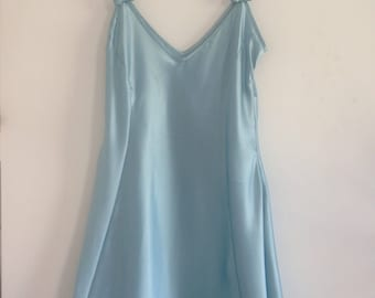 Satin Wet Look Mini Silky Blue Slip with Bows / Vintage 1990s Lingerie