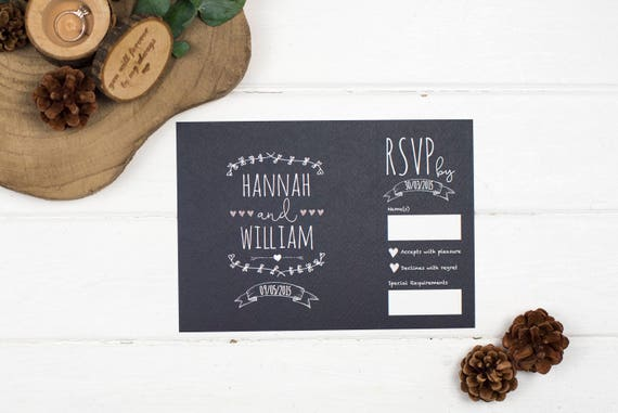 Rustic Wedding Invitation - A5 Rustic Chalkboard