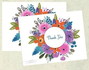 Thank You Card - Floral Circle - Notecard Set - Stationery