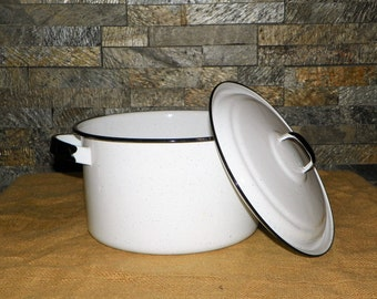 Black and White Enamel-Ware Covered Covered Stock Pot