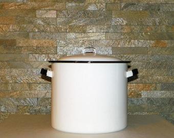"Black and White Enamel-Ware Covered Covered Stock Pot, 11 1/2"" High Heavy Duty Enamel Pot"