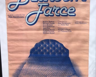 Vintage National Theatre Poster for Alan Ayckbourn Comedy Bedroom Farce