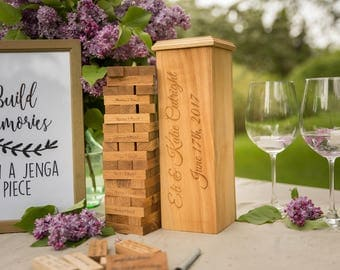 Custom made engraved Oak wood jenga wedding game, Personalized wedding gift guest book, Anniversary gift for couple, Jenga tower game
