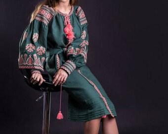Green linen folk dress Embroidered linen dress vyshyvanka dress ethnic style, Traditional kaftan, tunic, sarafan free shipping