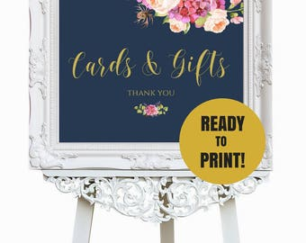 Cards And Gifts Sign, Boho Wedding Sign, Navy Gold Wedding Decor, Instant Download, 8x10, 8.5x11, 11x14, 18x24, 24x36 SKU# IDWS502_01S