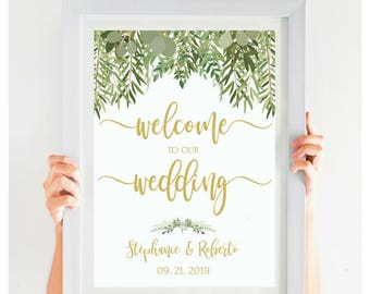 WELCOME To Our Wedding Sign Printable Template Instant Download Greenery Wedding Decor Editable Wedding Sign Beach Wedding #IDWS604_34C