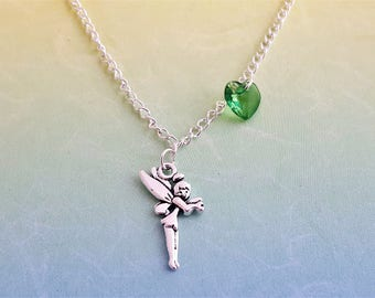Fairy Necklace, Pixie Necklace, Fairytale Charm, Kid's Necklace, Fairy Gift, Gift For Daughter, Little Fairy Charm, Green Fairy, Kid's Gift