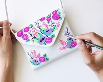 Hand Painted Floral Pink Purple Illustration New Vegan Faux Leather Cross Body Bag
