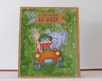 Safari card - Birthday card - Blank double greeting card - Hand colored - Main card color is ochre