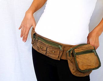 Canvas pocket belt brown utility bag festival bum bag utility belt bag travel funny pack hipster money belt vintage