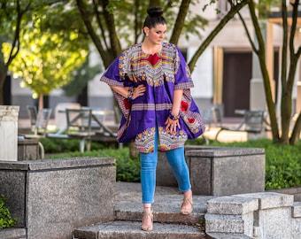 Purple Dashiki Kimono Oversized African Kimono Ankara Plus Size Kimono One Size Fits All Kimono Ethnic Dress Music Festival Clothing Women