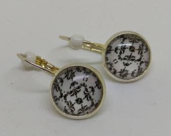 loop earrings 925 sterling silver cabochon, black and white