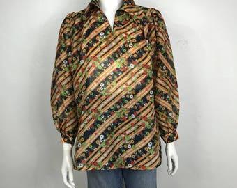 Vtg 70s floral puff sleeve boho hippie peasant dress top shirt small
